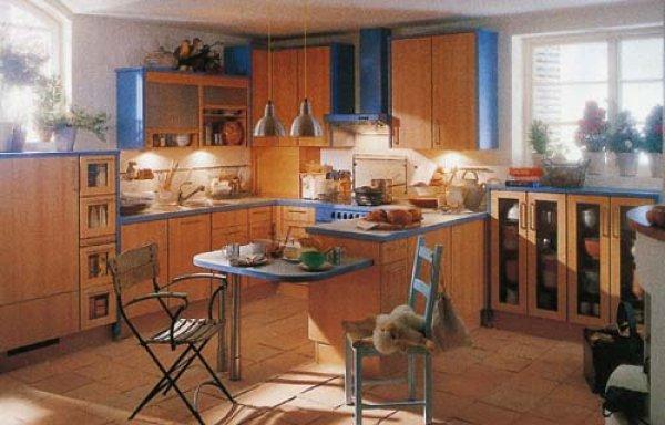 kuchyně modrobéžová