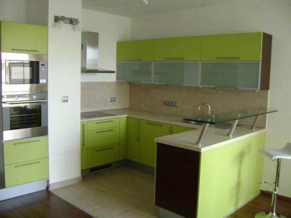 kuchyň v zeleném laku