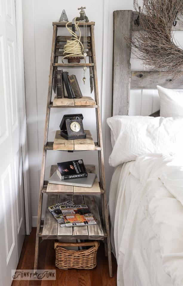 noční stolek z žebříku