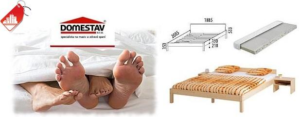 46% sleva na dvoulůžkovou postel s roštem včetně matrace BIANCO