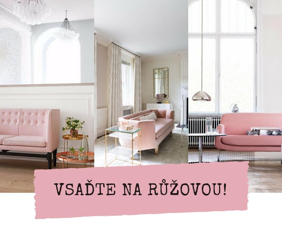 Růžová pohovka pro elegantní obývací pokoj