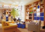 Police knihovny - úložné prostory - obývací pokoj