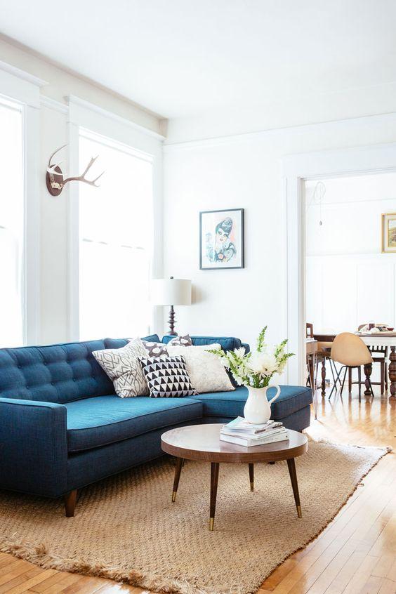 obývací pokoj, modrá